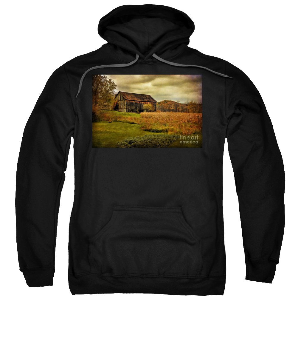 Barn Sweatshirt featuring the photograph Old Barn In October by Lois Bryan