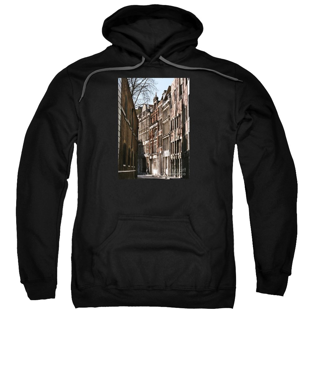 London Art England The City Travel Curving Street Solitary Person Winter Tree Shadows History Varied Architecture Windows Serene Mystery Vertical Outdoors Canvas Print Highly Recommended Metal Frame Poster Print Available On Greeting Cards T Shirts Tote Bags Shower Curtains And Phone Cases Sweatshirt featuring the photograph Old City Street Scene In London by Marcus Dagan