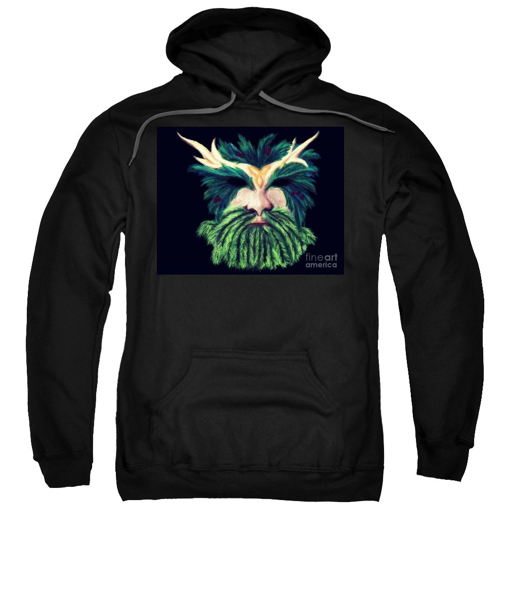 Green Man Pastel Sweatshirt featuring the pastel Old Green Man Winter by Kitrina Arbuckle