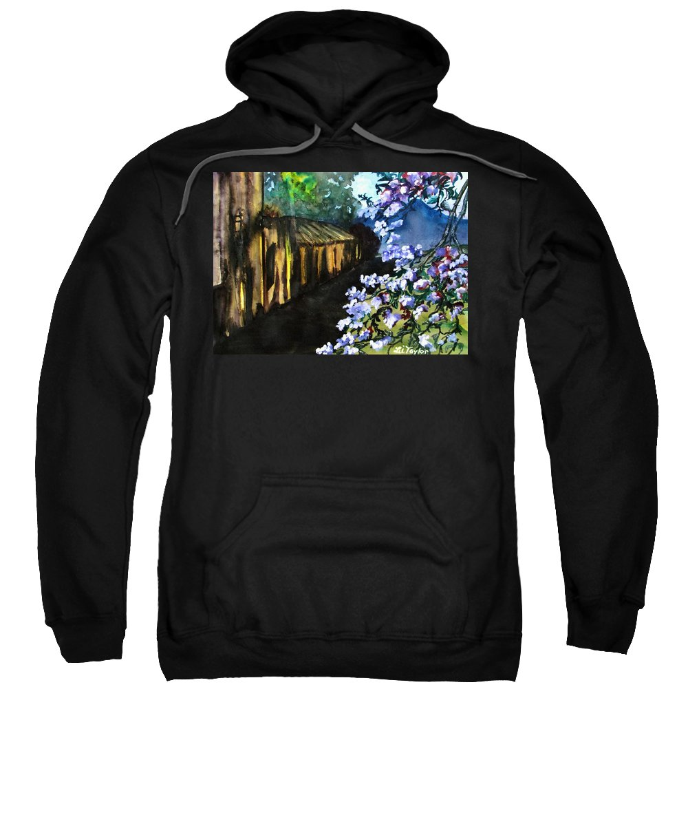 Flowers Sweatshirt featuring the painting Old House And New Flowers by Lil Taylor