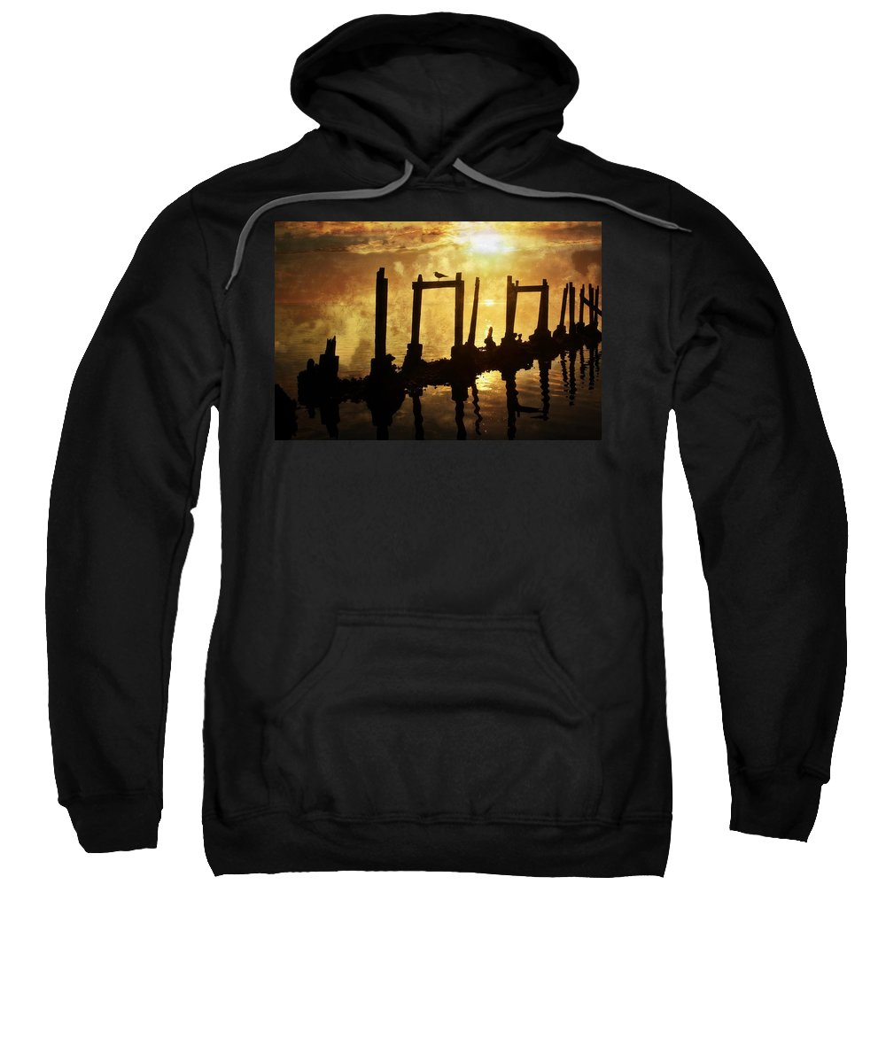 Sunset Sweatshirt featuring the photograph Old Pier At Sunset by Marty Koch