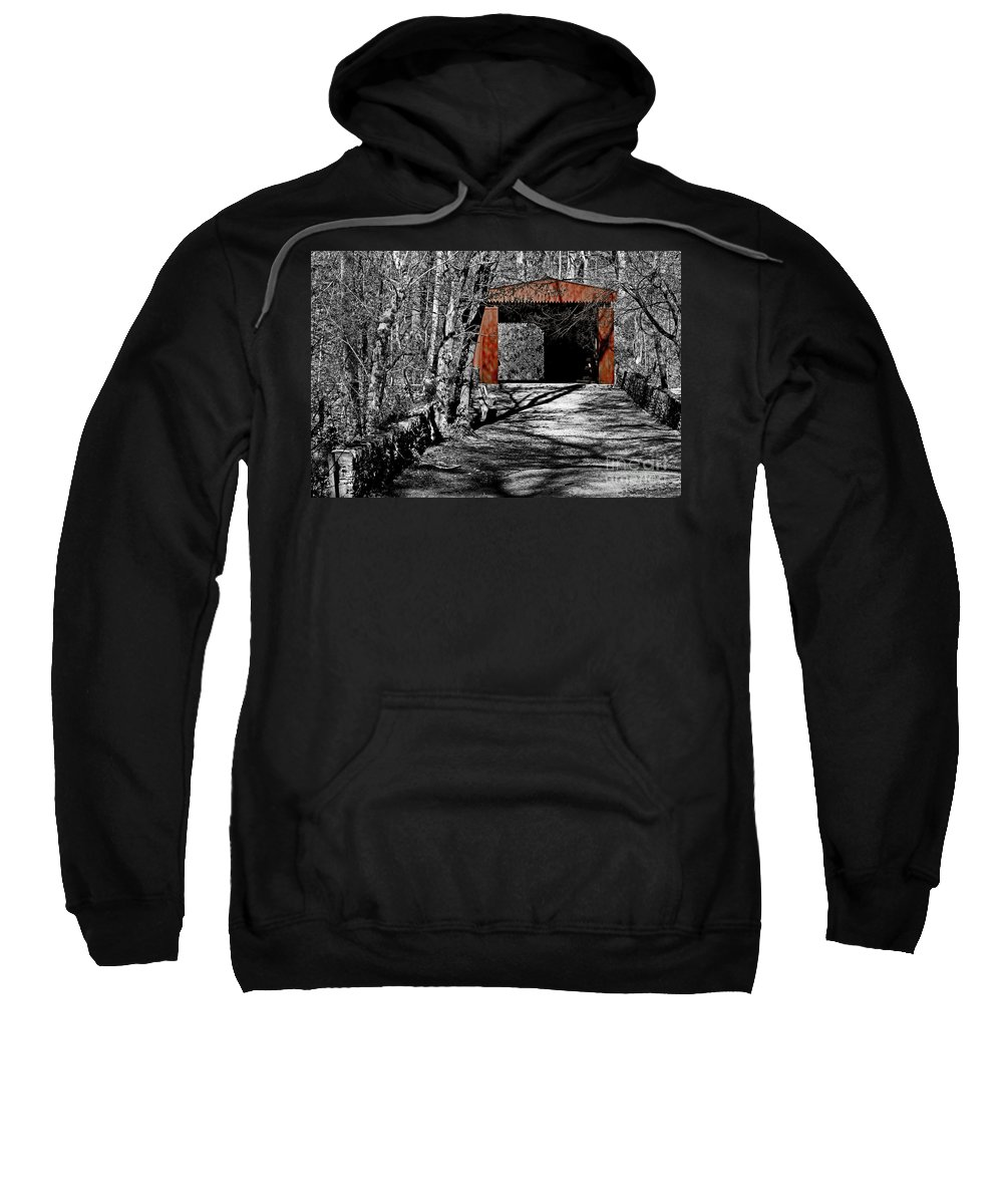 Selective Color Sweatshirt featuring the photograph Old Red Bridge by Tom Gari Gallery-Three-Photography