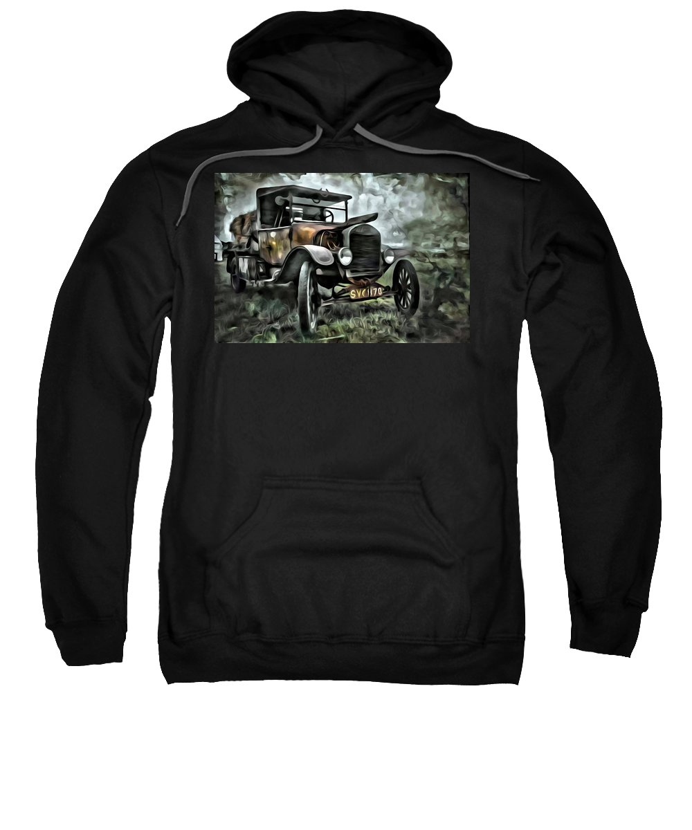 Car Sweatshirt featuring the painting Old Rusty by Florian Rodarte