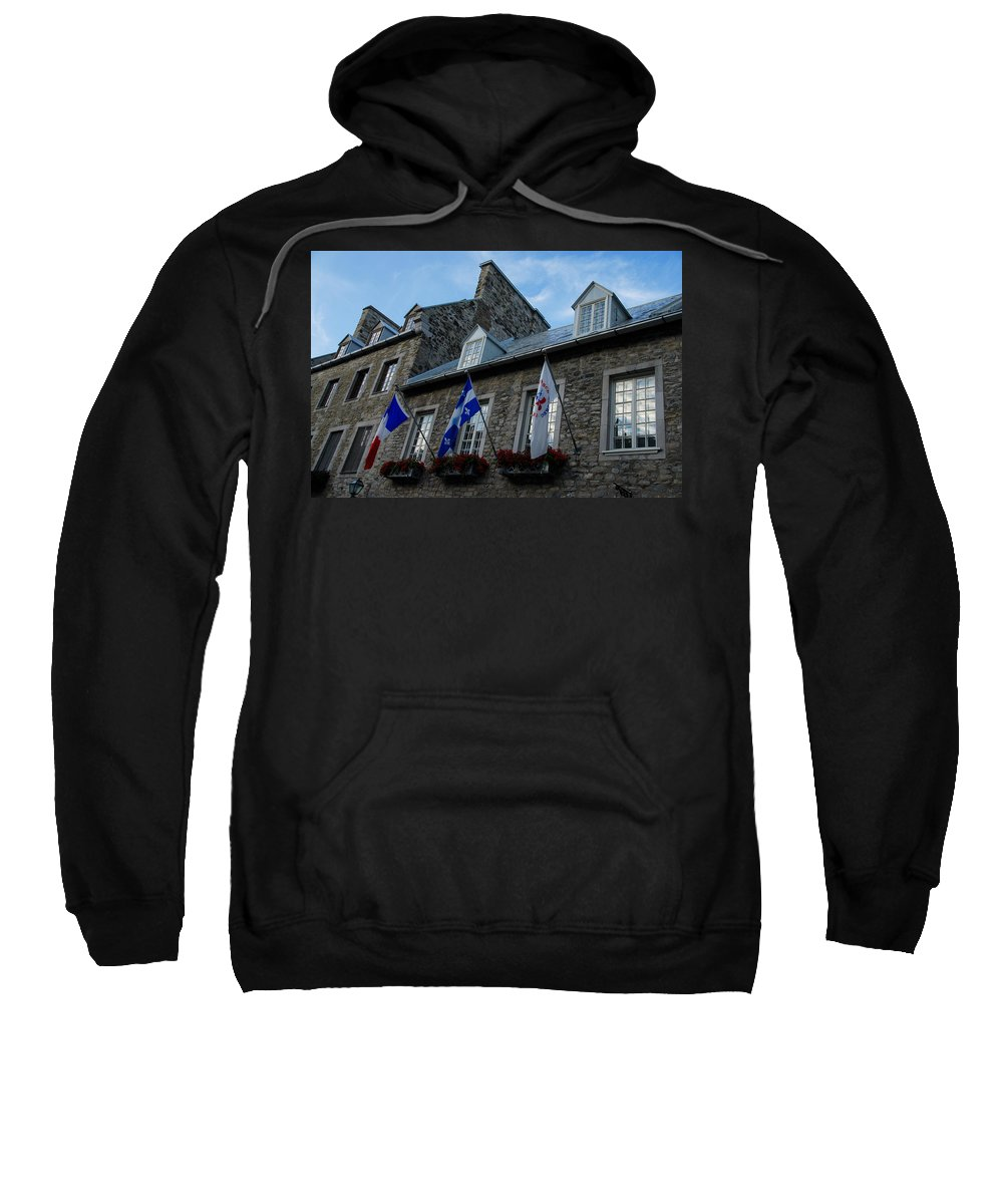 Stone Houses Sweatshirt featuring the photograph Old Stone Houses In Quebec City Canada by Georgia Mizuleva