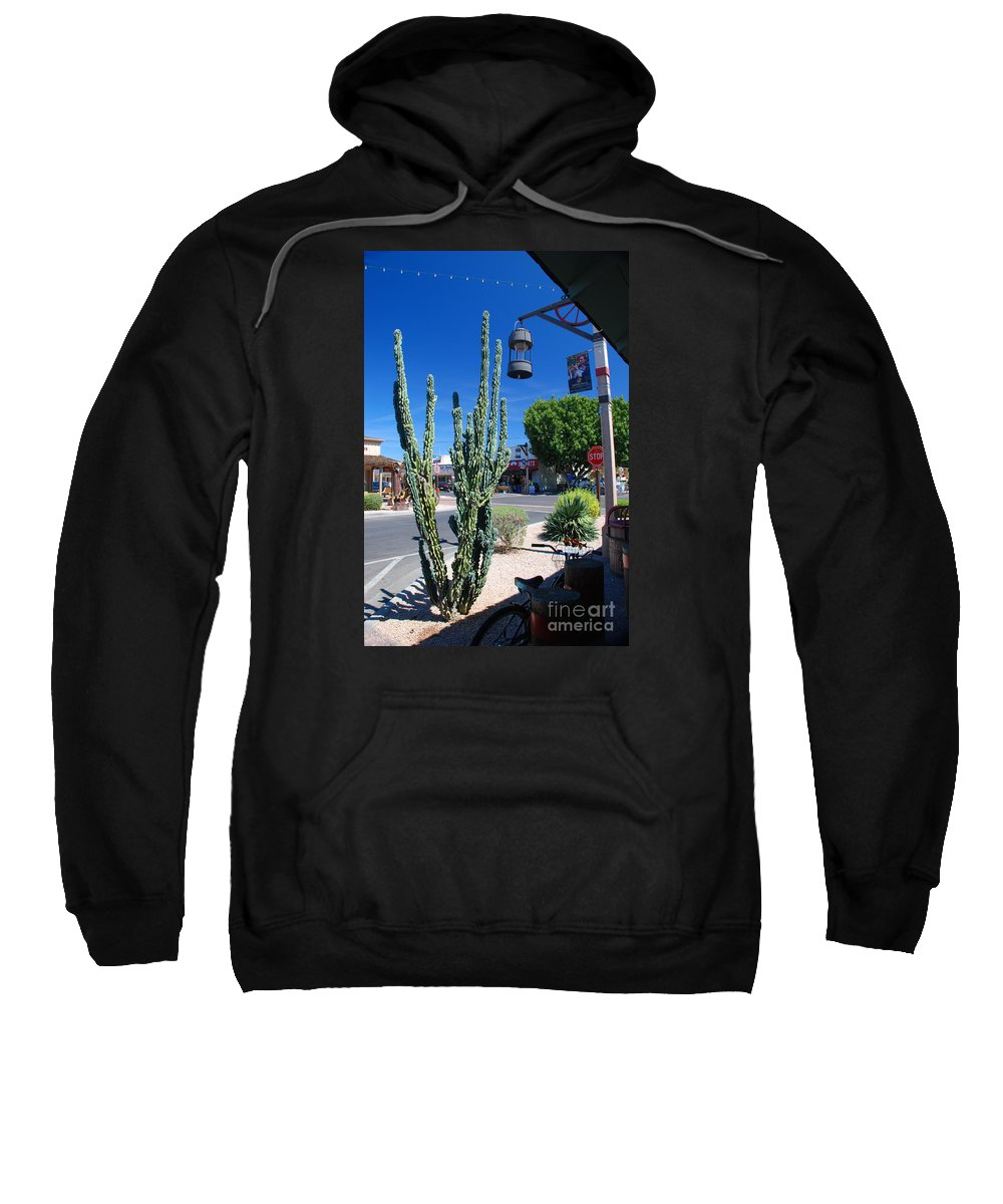Cactus Old Town Scottsdale Arizona Sweatshirt featuring the photograph Old Town Cactus by Richard Gibb