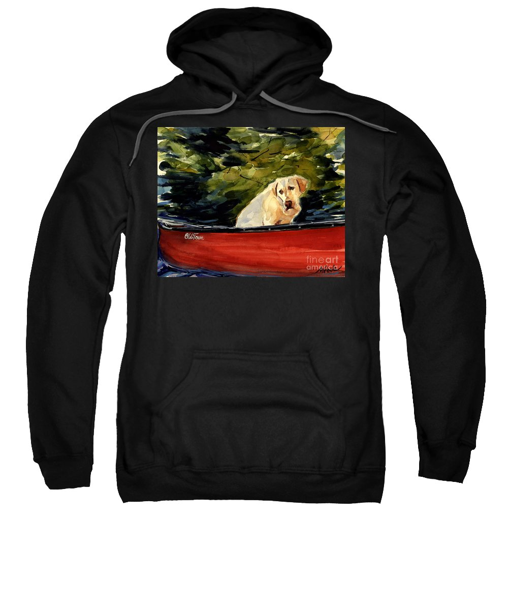 Yellow Labrador Retriever Sweatshirt featuring the painting Old Town by Molly Poole