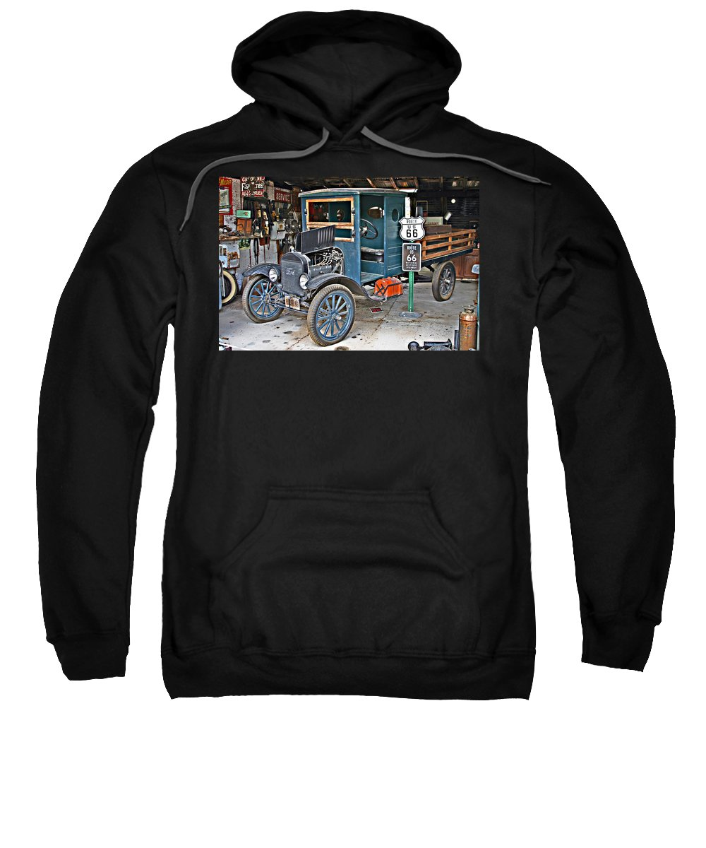 Truck Sweatshirt featuring the photograph Old Tyme Auto Shop by Hugh Carino