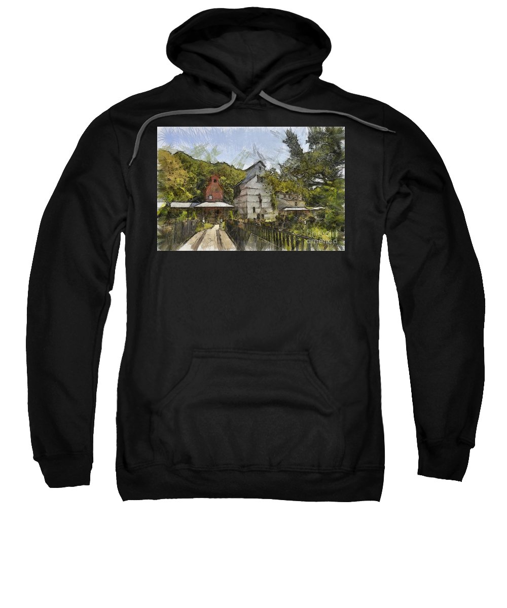 Old Weston Grain Elevator Sweatshirt featuring the drawing Old Weston Grain Elevator by Liane Wright