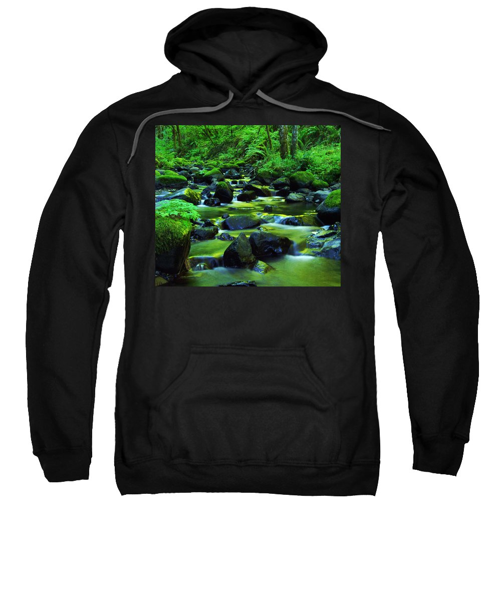 Oregon Streams Sweatshirt featuring the photograph On Golden Waters by Jeff Swan