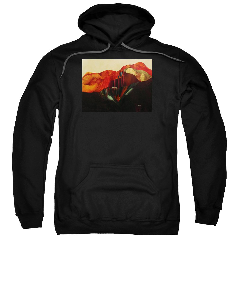 Oil Sweatshirt featuring the painting On The Road To Enlightenment by Peggy Guichu