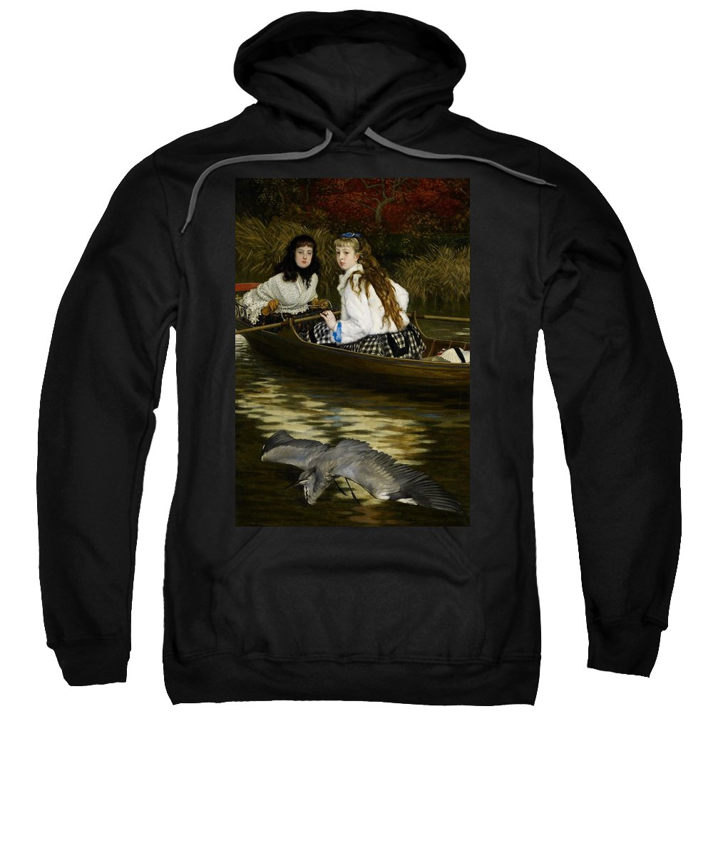 Tissot Sweatshirt featuring the painting On The Thames   A Heron by Tissot