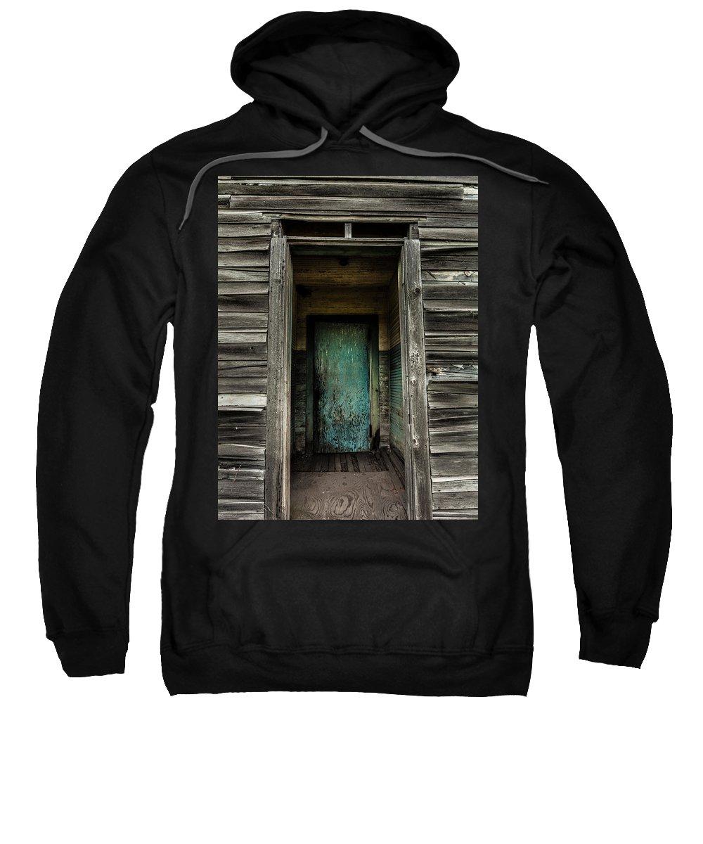 Damascus Pennsylvania Sweatshirt featuring the photograph One Room Schoolhouse Door - Damascus - Pennsylvania by David Smith
