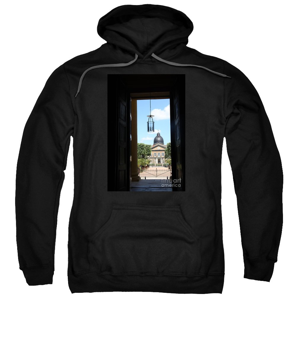 Hospital Sweatshirt featuring the photograph Open Church Door - Macon by Christiane Schulze Art And Photography