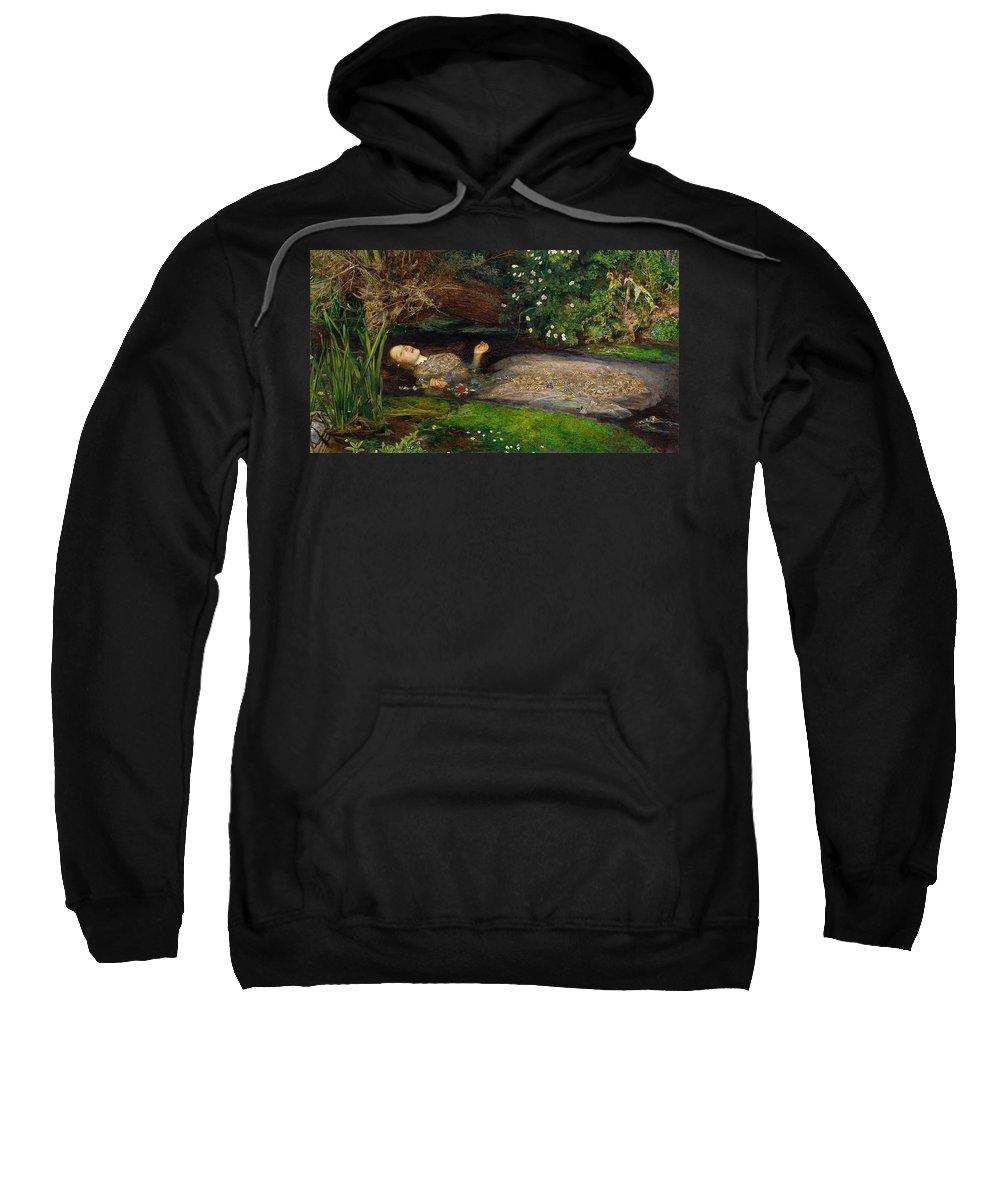 Ophelia Sweatshirt featuring the digital art Ophelia by John Everett Millais