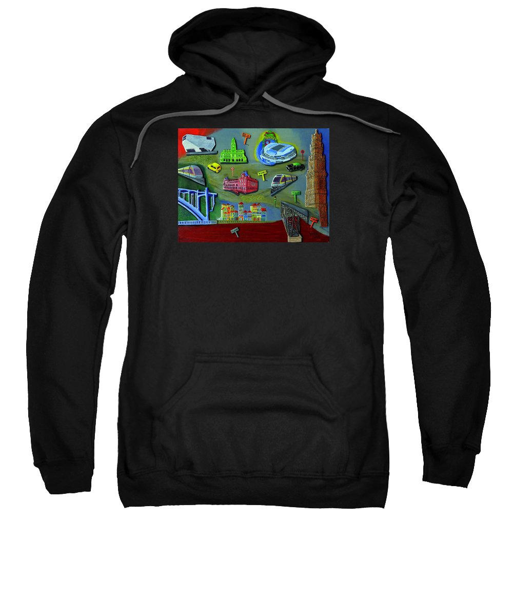 Oporto Sweatshirt featuring the painting Oporto by Vitor Fernandes VIFER