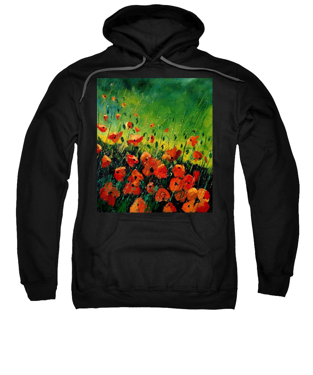 Poppies Sweatshirt featuring the painting Orange poppies by Pol Ledent