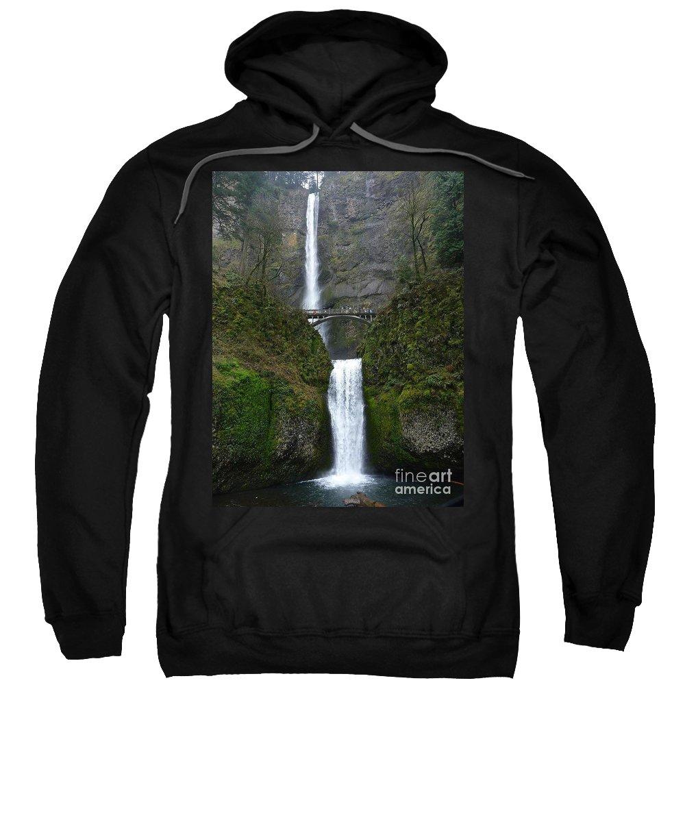 Multnomah Falls Sweatshirt featuring the photograph Oregon Long Shot Of Falls by Susan Garren