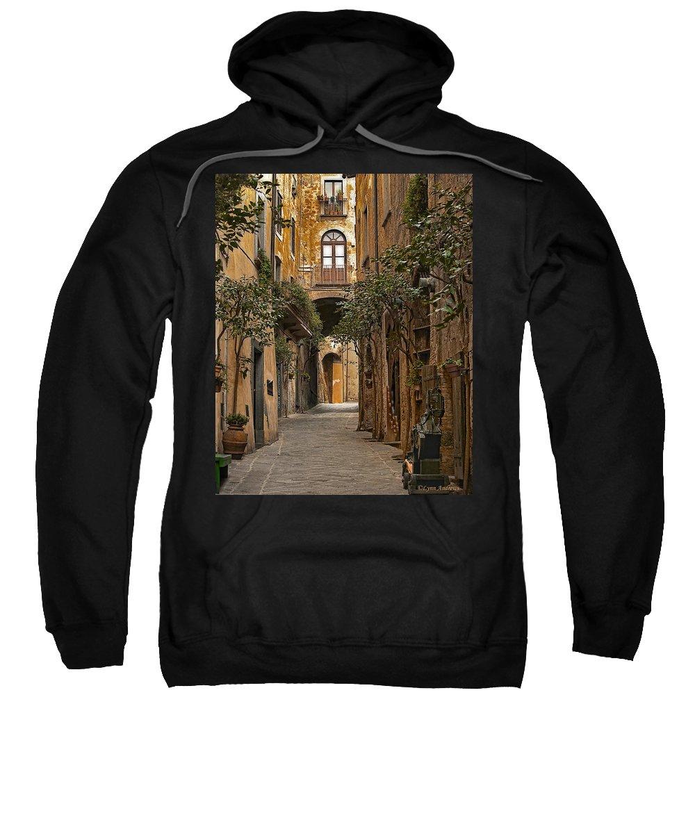 Orvieto Sweatshirt featuring the photograph Orvieto Side Street by Lynn Andrews