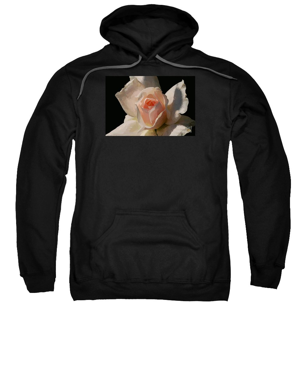 Rose Sweatshirt featuring the digital art Painted Rose by Lois Bryan