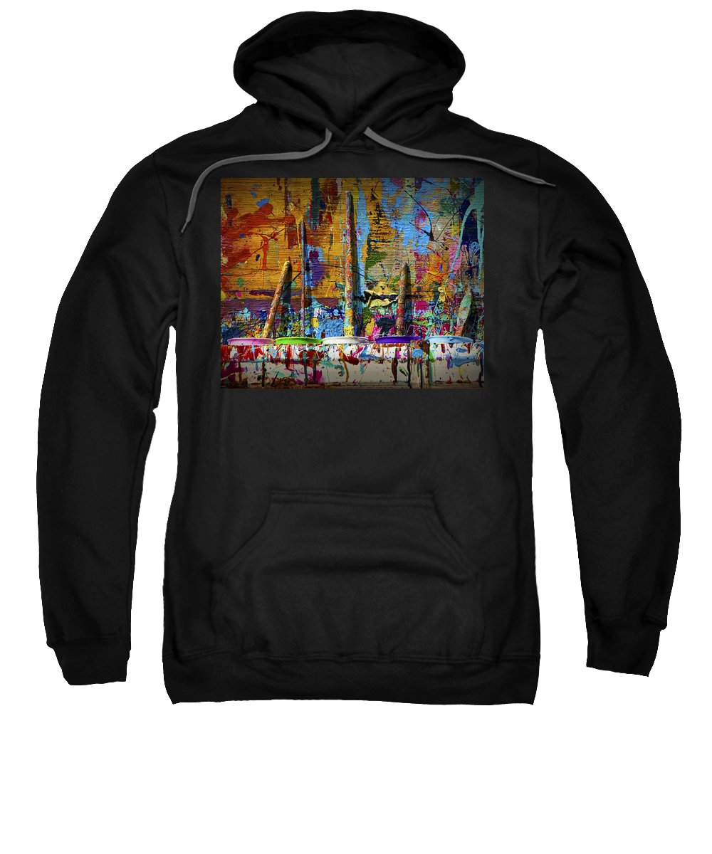 Art Sweatshirt featuring the photograph Painting Brushes At A Child's Painting Easel by Randall Nyhof