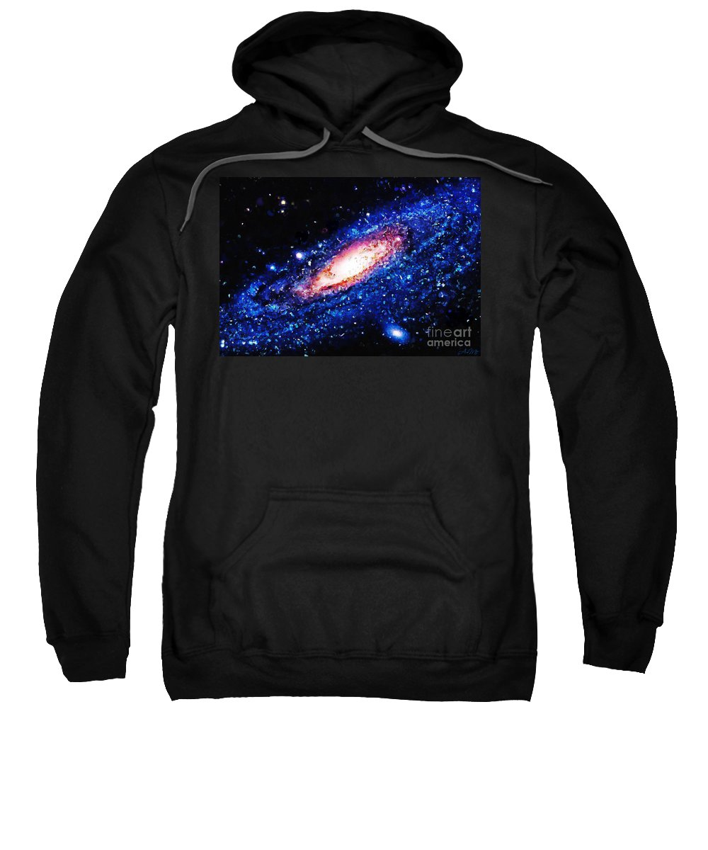 Painting Sweatshirt featuring the painting Painting Of Galaxy by Antony McAulay