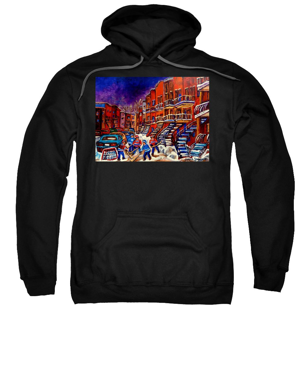 Montreal Sweatshirt featuring the painting Paintings Of Montreal Hockey On Du Bullion Street by Carole Spandau