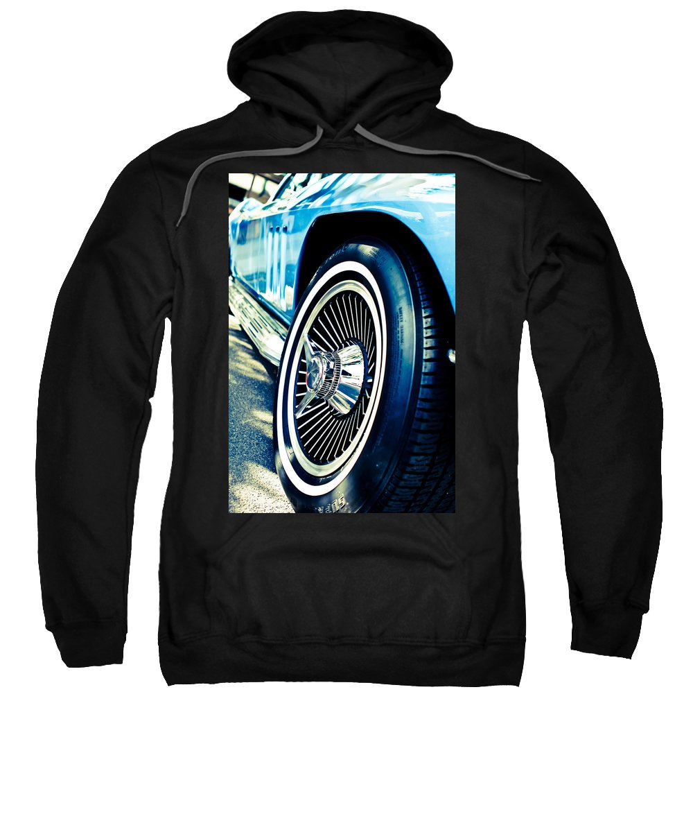 Classic Cars Sweatshirt featuring the photograph Pale Blue Rider by Digital Kulprits