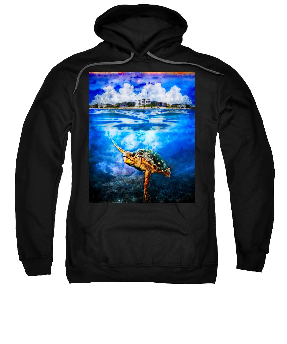 Clouds Sweatshirt featuring the photograph Palm Beach Under And Over by Debra and Dave Vanderlaan