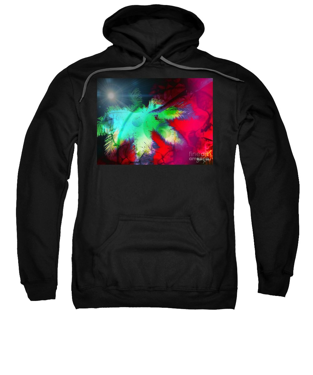 Palm Tree Sweatshirt featuring the mixed media Palm Prints by Michelle Stradford