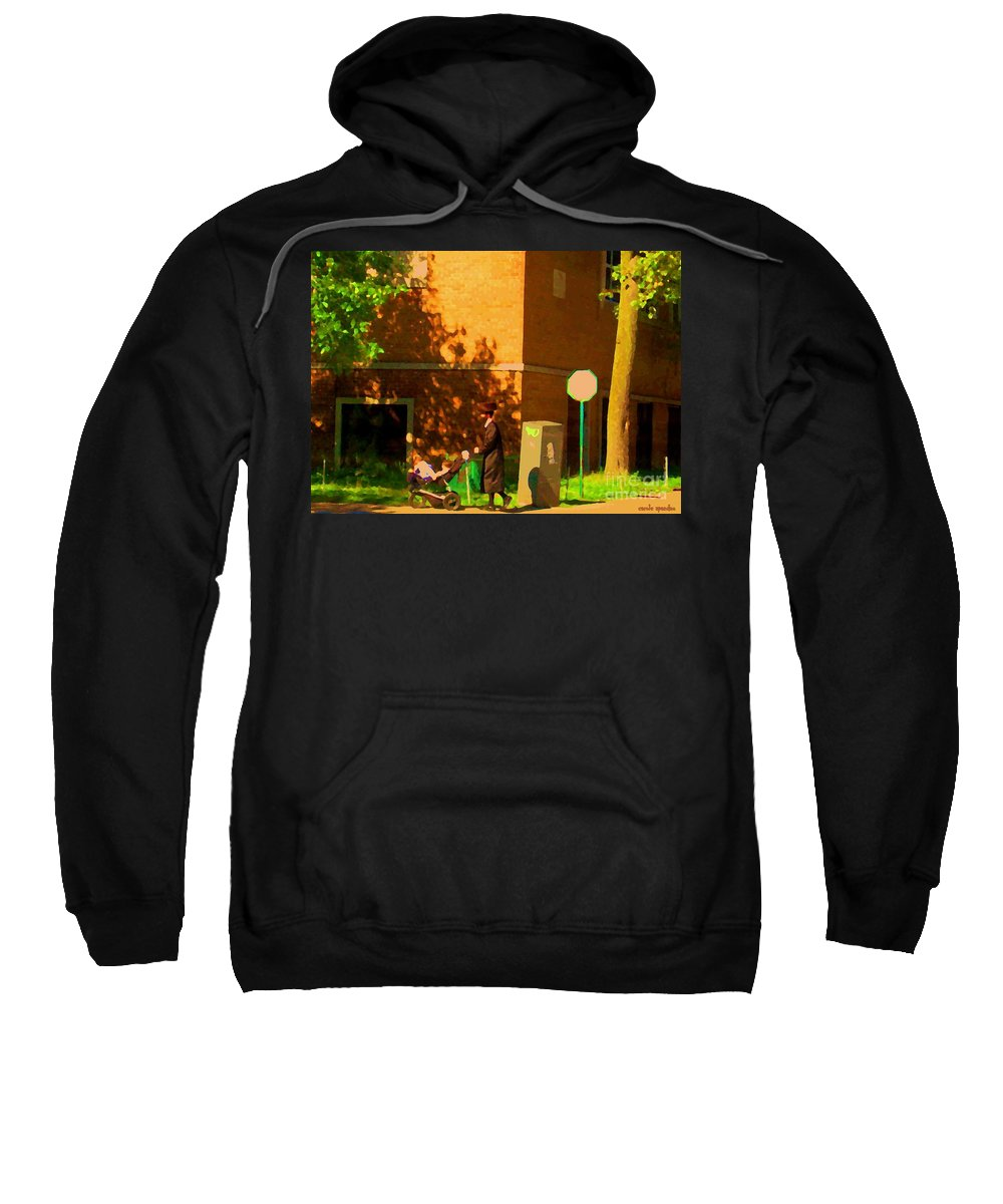 Montreal Sweatshirt featuring the painting Papa And The Little Ones Sunday Afternoon Stroll On The Avenues Montreal City Scene Carole Spandau by Carole Spandau