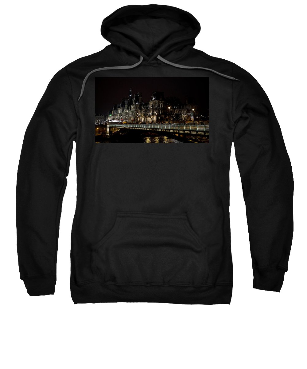 Arch Sweatshirt featuring the photograph Paris Night Along The Seine by Evie Carrier