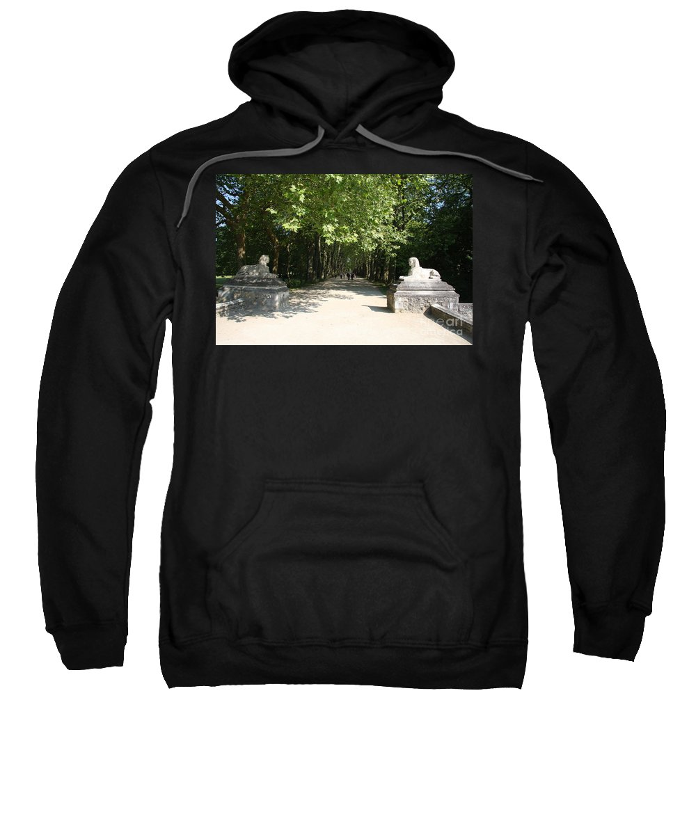 Egyptian Statue Sweatshirt featuring the photograph Parkway Chateau Chenonceaux France by Christiane Schulze Art And Photography