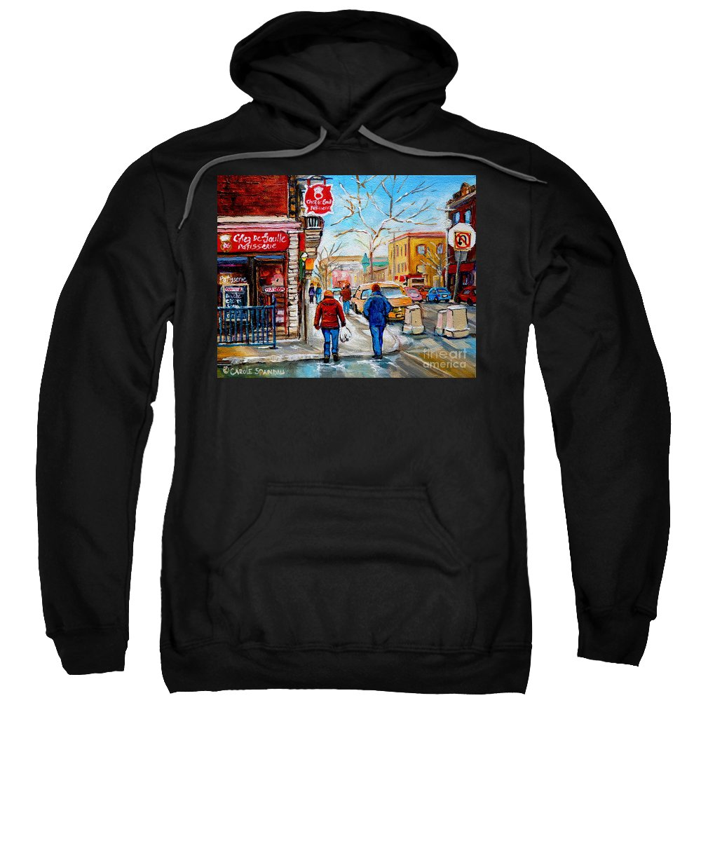 Montreal Sweatshirt featuring the painting Pastry Shop And Tea Room by Carole Spandau
