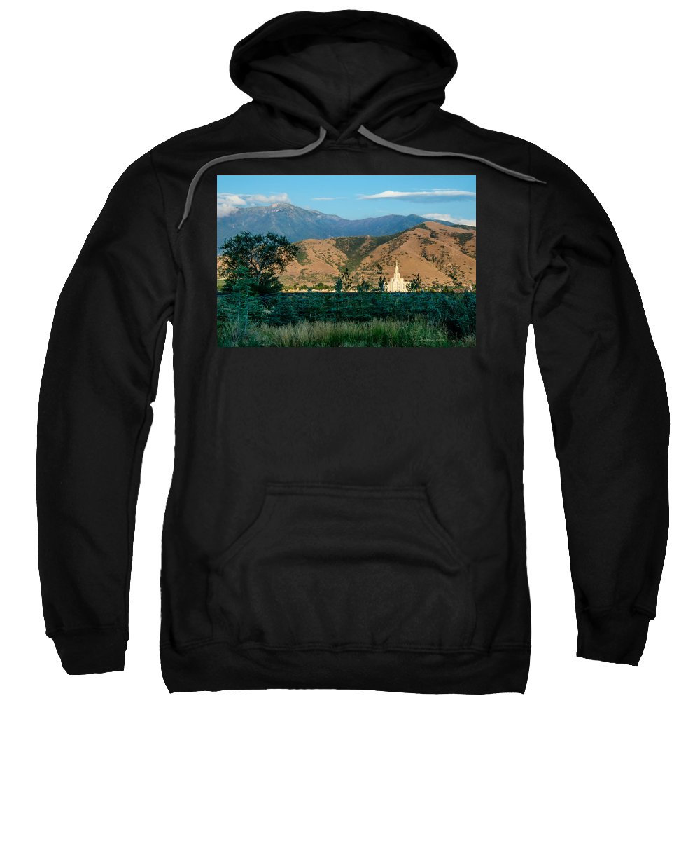 Lds Temples Sweatshirt featuring the photograph Payson Temple Mountains by La Rae Roberts