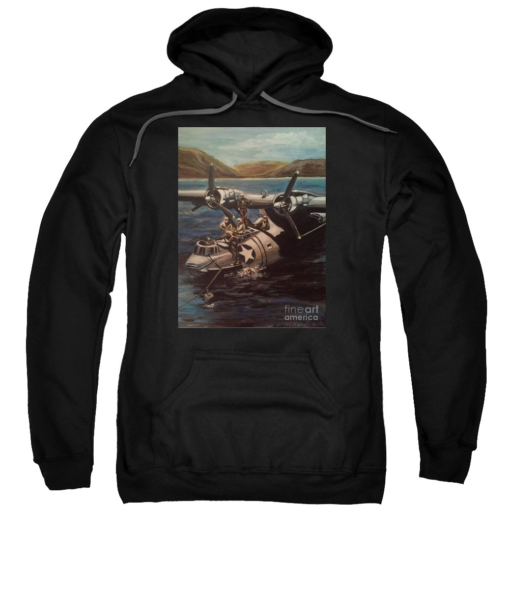 Us Navy Sweatshirt featuring the painting Pby 5 Loading At Pearl Harbor by Richard John Holden RA