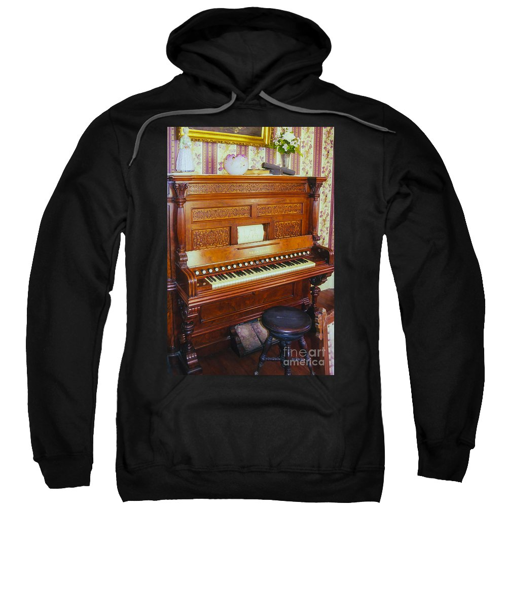 Heritage Village City Park Dallas Texas Pedal Organ Pedals Organs Stool Stools Odds And Ends Parks Sweatshirt featuring the photograph Pedal Organ by Bob Phillips