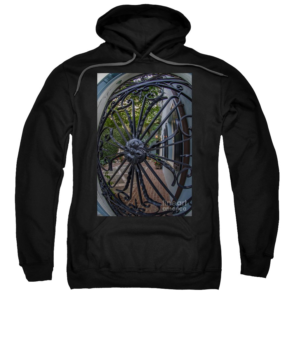 Wrought Iron Sweatshirt featuring the photograph Peek Into Courtyard by Dale Powell