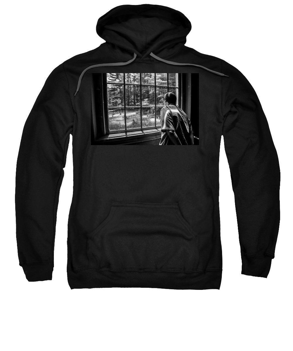 Window Sweatshirt featuring the photograph Peering Out The Window Bw by Karol Livote