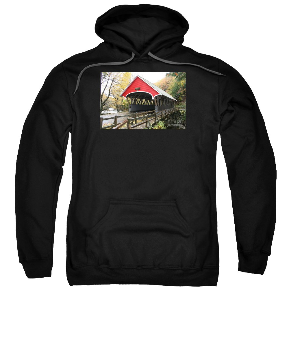 Covered Bridge Sweatshirt featuring the photograph Pemigewasset River Covered Bridge In Fall by Christiane Schulze Art And Photography