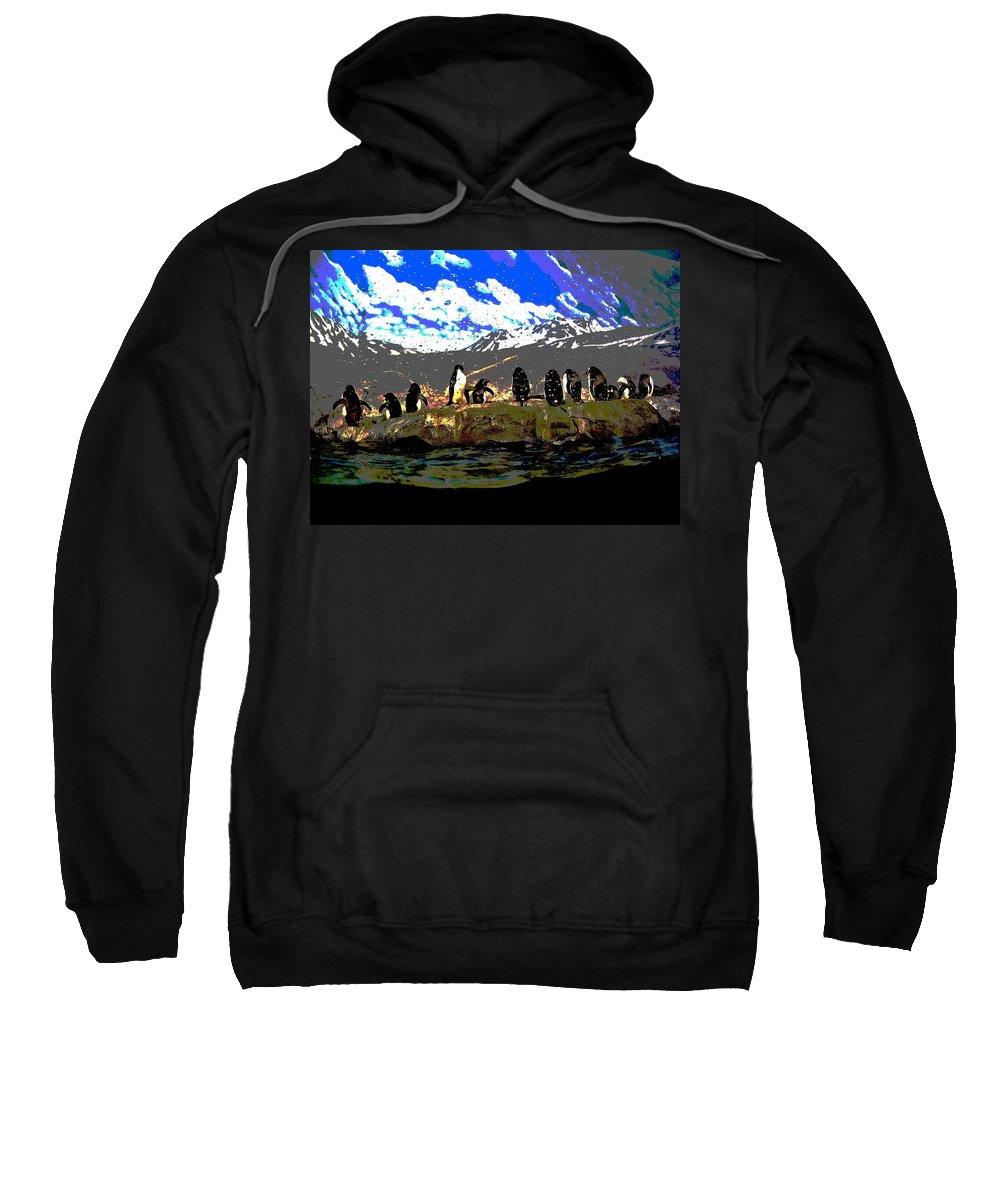 Computer Graphics Sweatshirt featuring the photograph Penguins Line Dance Posterized 2 by Marian Bell