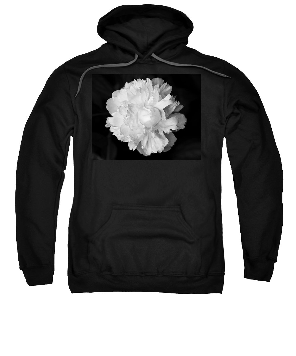 Flower Sweatshirt featuring the photograph Peony In Bw by Deborah Crew-Johnson