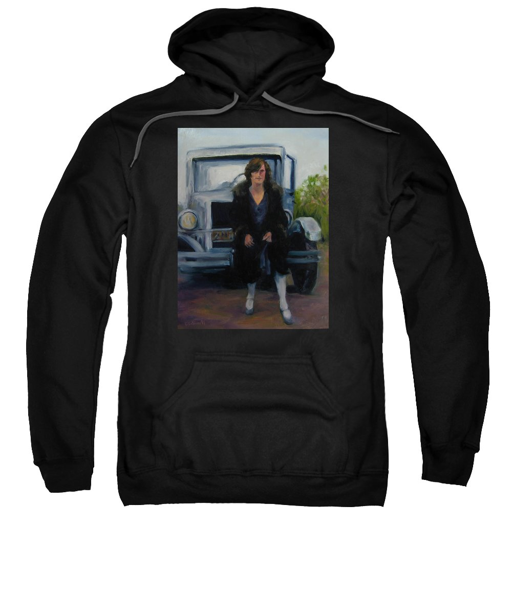 Vintage Sweatshirt featuring the painting Perched by Connie Schaertl