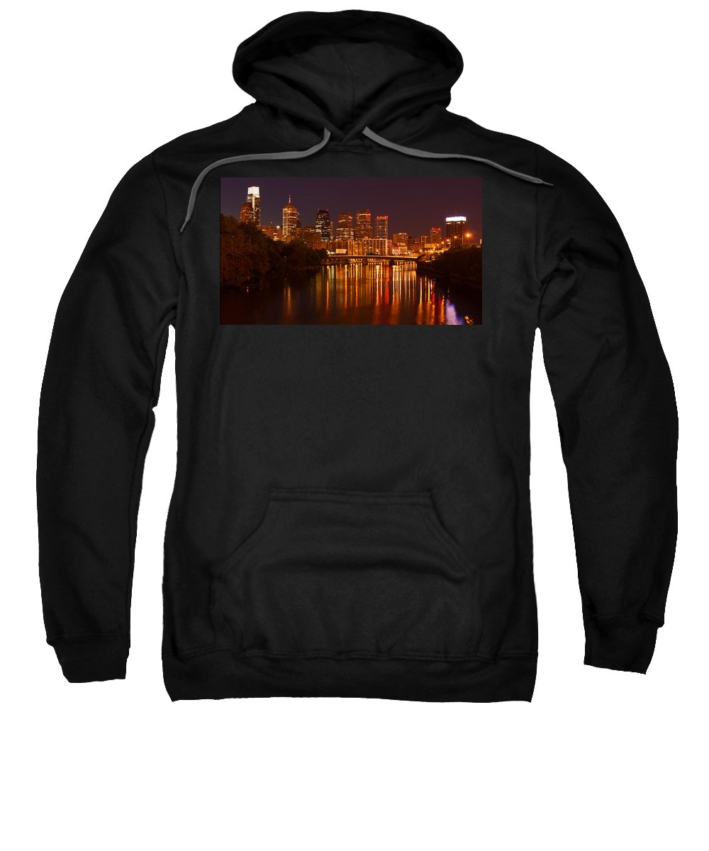 Philadelphia Sweatshirt featuring the photograph Philly Lights Reflected by Michael Porchik