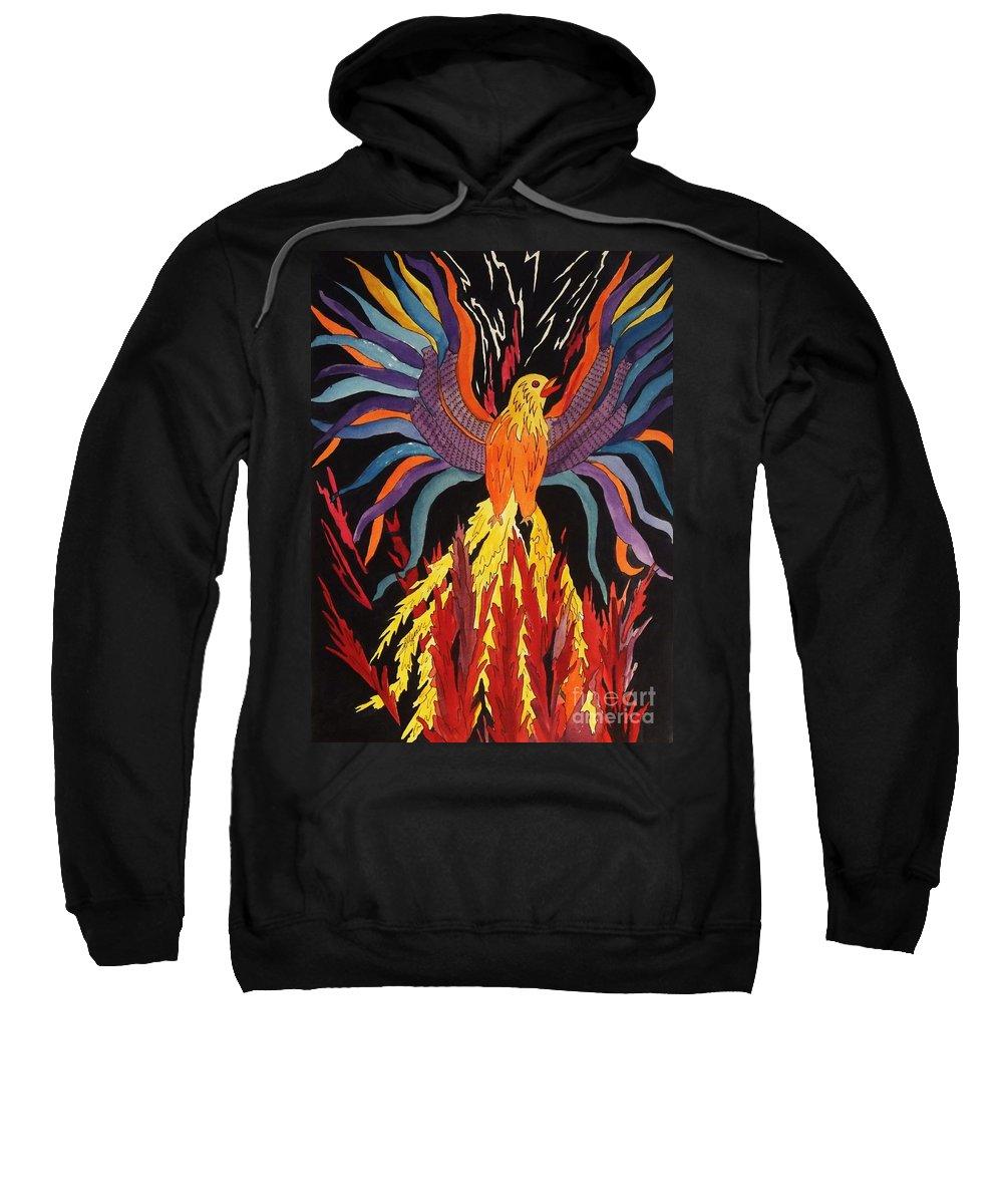 Phoenix Rising Sweatshirt featuring the painting Phoenix Rising by Ellen Levinson