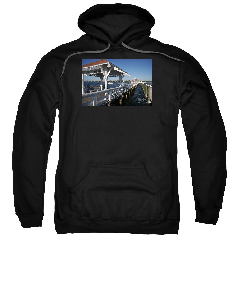 Pier Sweatshirt featuring the photograph Clock Tower Pier by Christiane Schulze Art And Photography
