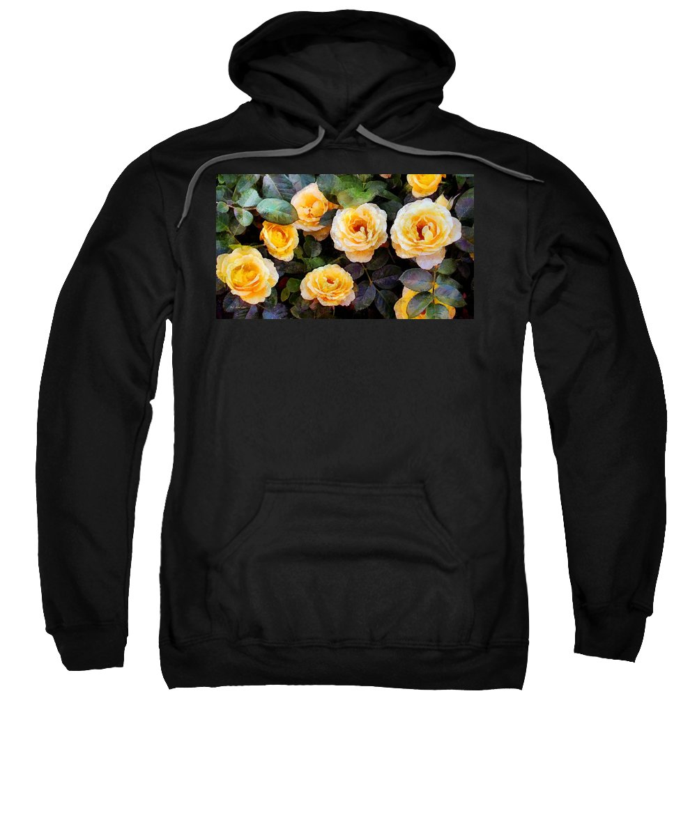 Roses Sweatshirt featuring the painting Pierre's Peach Roses by RC DeWinter