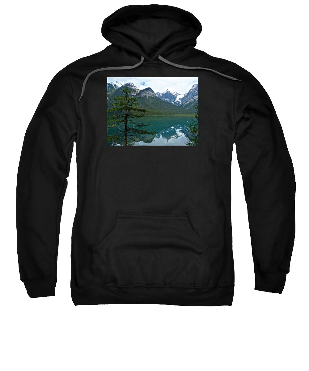 Pine Over Emerald Lake Reflection From Emerald Lake Trail In Yoho Np Sweatshirt featuring the photograph Pine Over Emerald Lake Reflection In Yoho National Park-british Columbia-canada by Ruth Hager