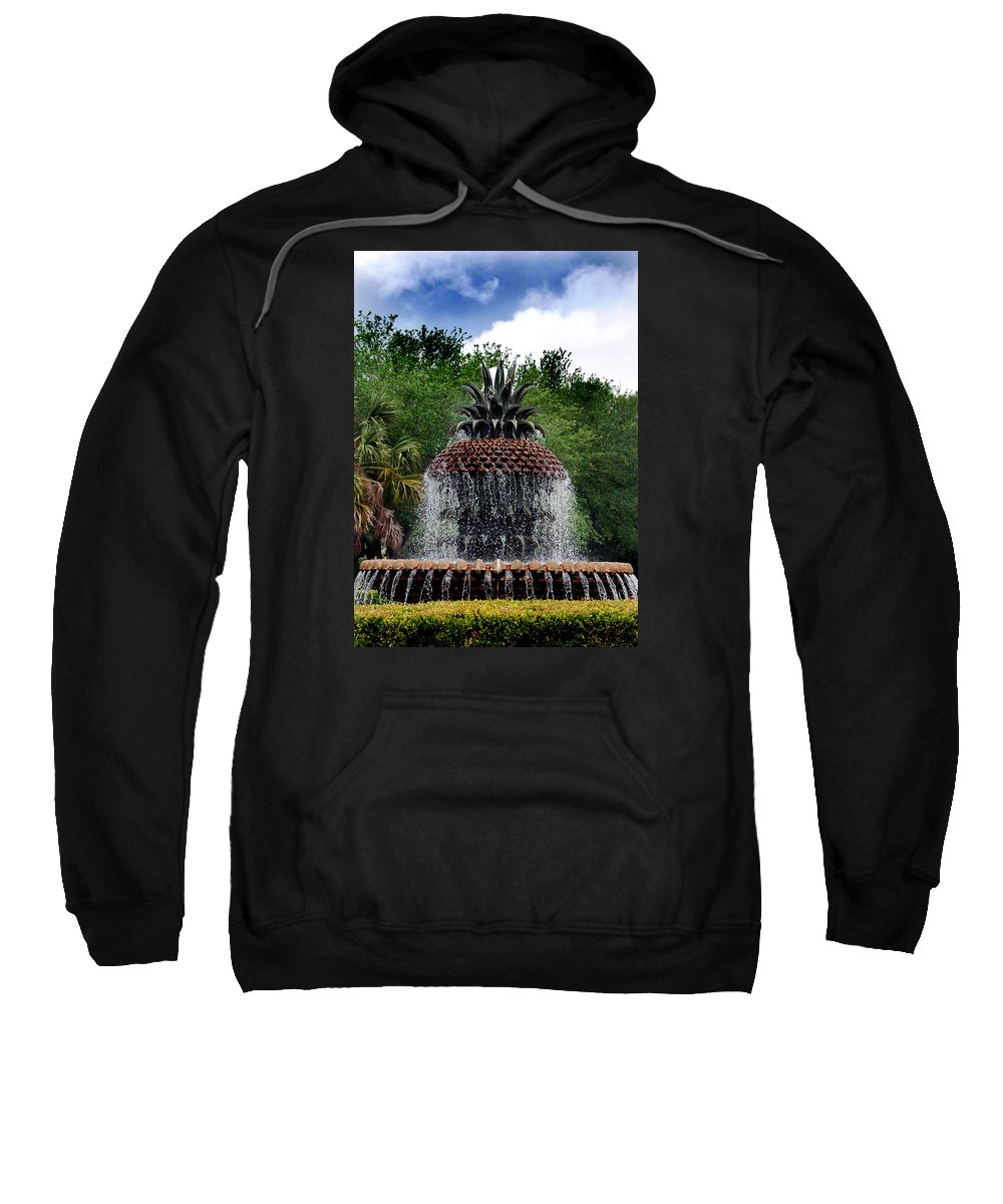 Park Sweatshirt featuring the photograph Pineapple Fountain by Skip Willits