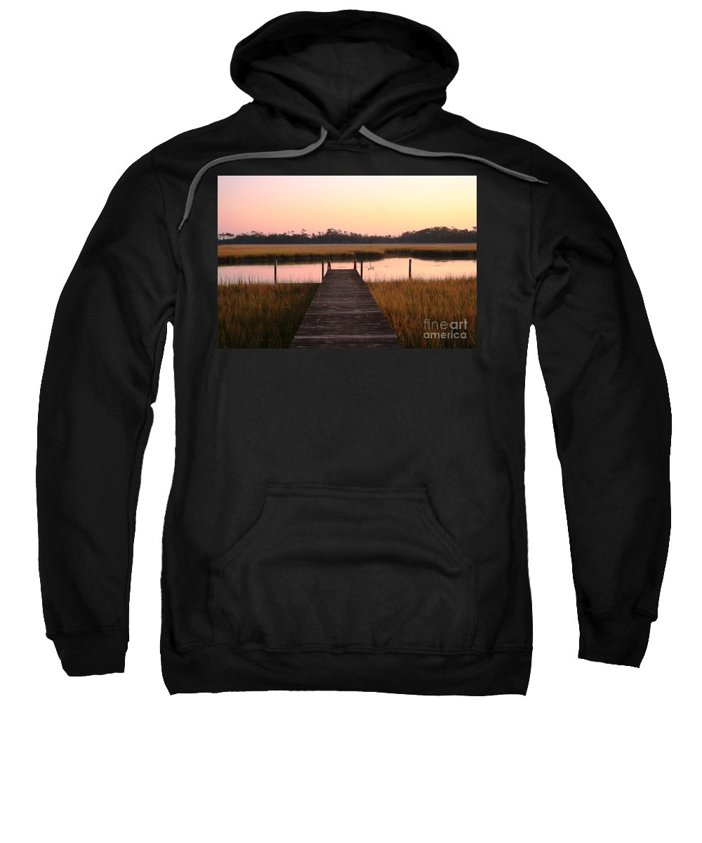 Pink Sweatshirt featuring the photograph Pink And Orange Morning On The Marsh by Nadine Rippelmeyer