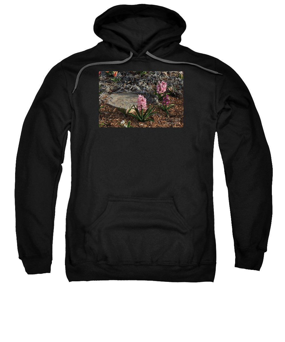 Flower Sweatshirt featuring the photograph Pink Flower's With A Lime Stone Rock by Robert D Brozek